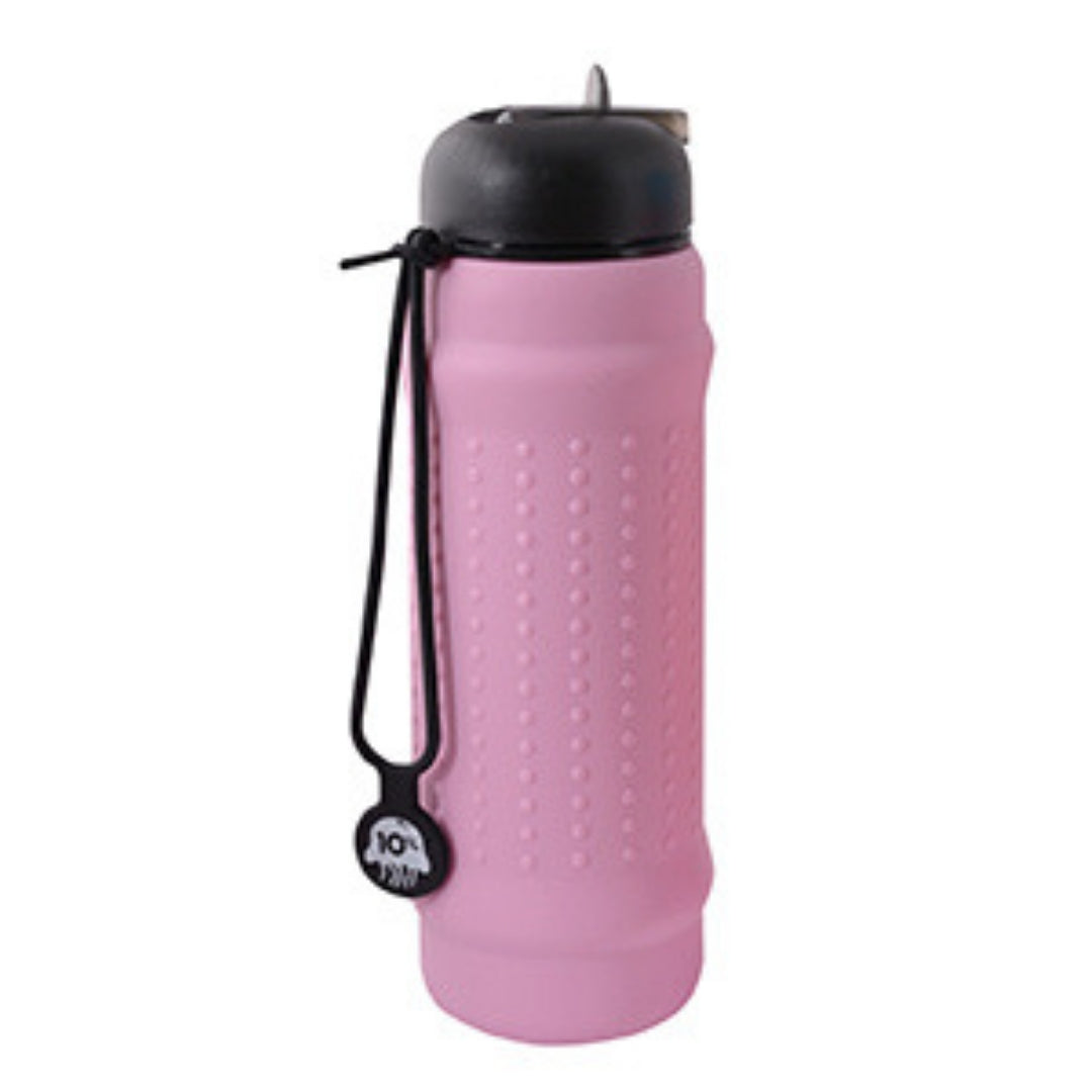 Pink Lilac Rolla Bottle with Black Lid and Strap