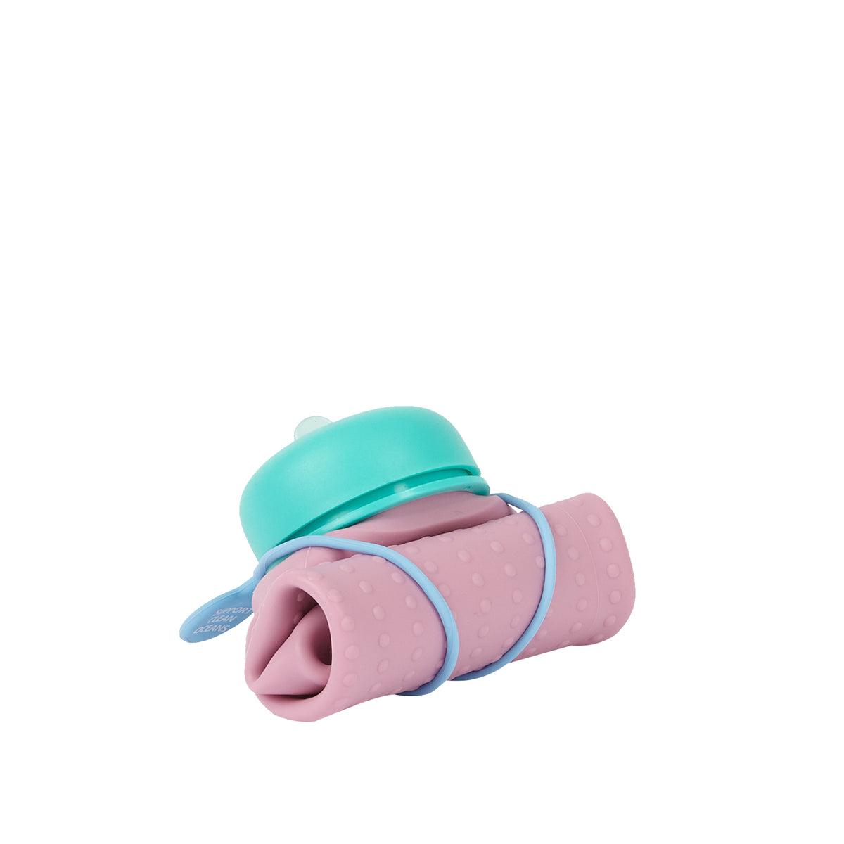 olla Bottle - Pink Lilac, Teal Lid + Dusty Blue Strap - rolled