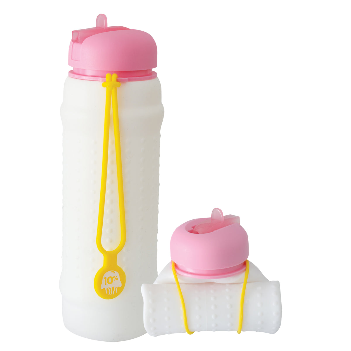 Rolla Bottle - White, Pink Lid + Yellow Strap