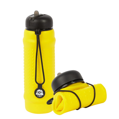 Rolla Bottle - Yellow, Black Lid + Black Strap - tall and rolled
