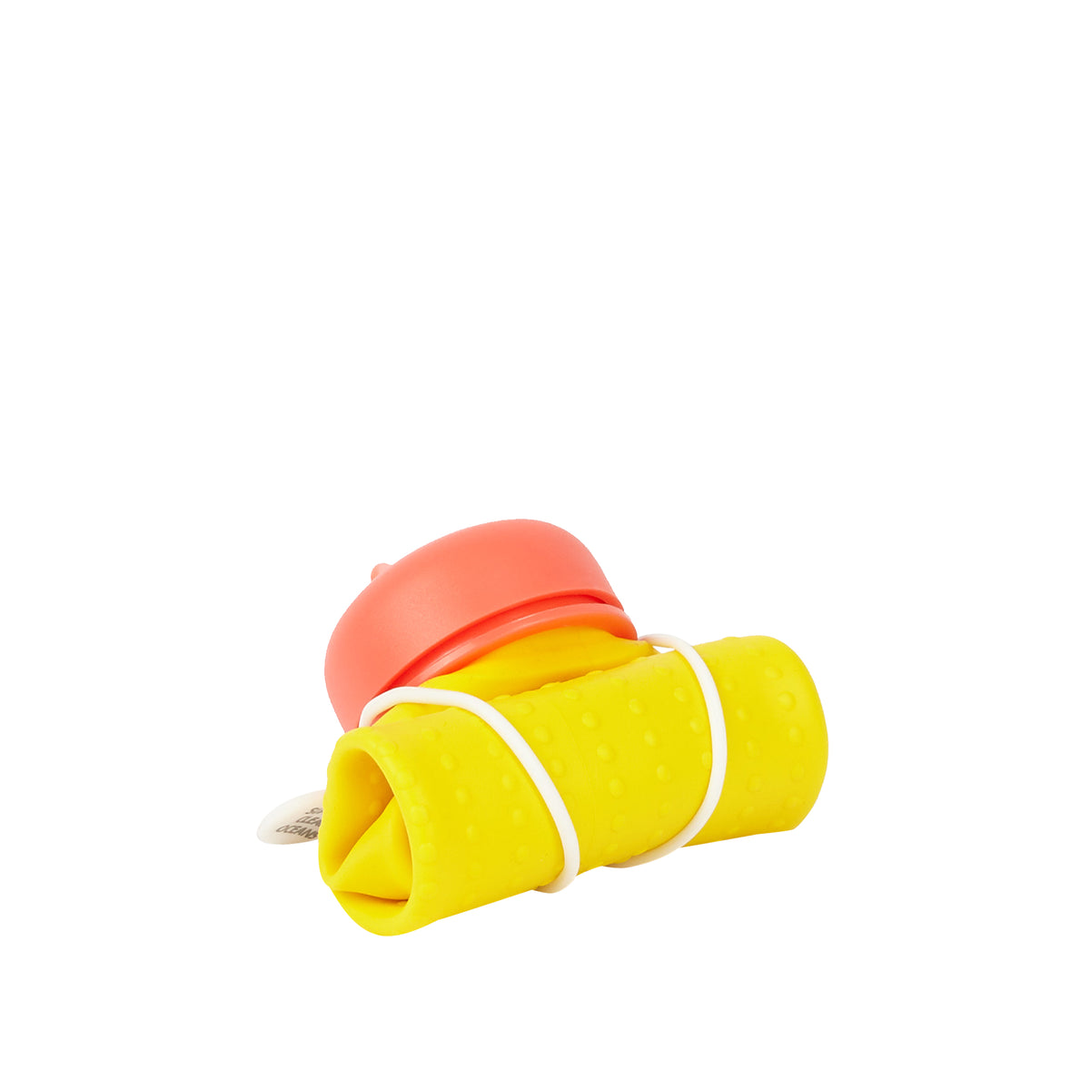 Rolla Bottle - Yellow, Coral Lid + White Strap -rolled