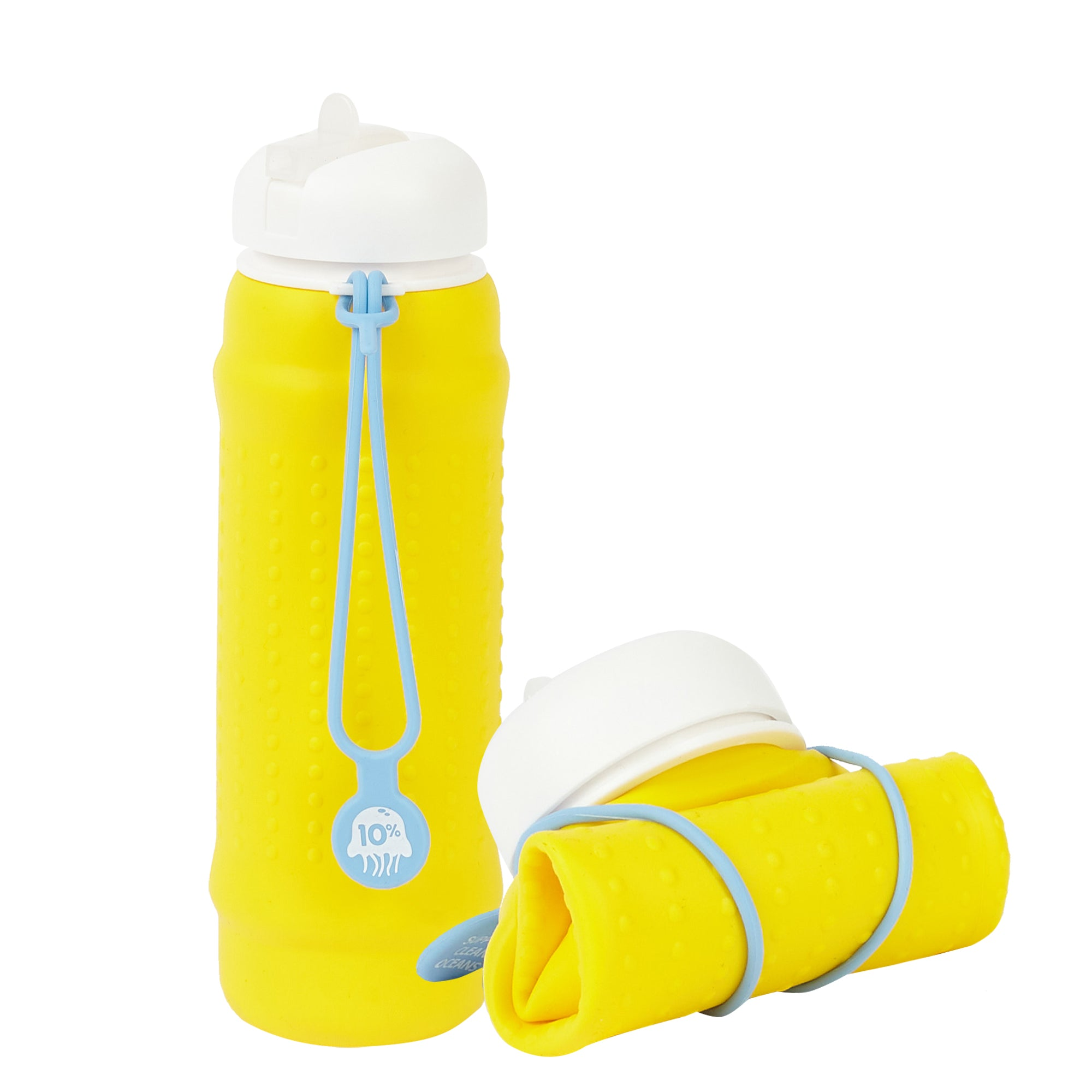 Rolla Bottle - Yellow, White Lid + Dusty Blue Strap - tall and rolled
