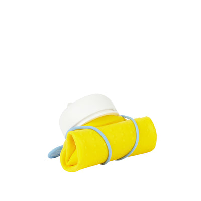 Rolla Bottle - Yellow, White Lid + Dusty Blue Strap - rolled