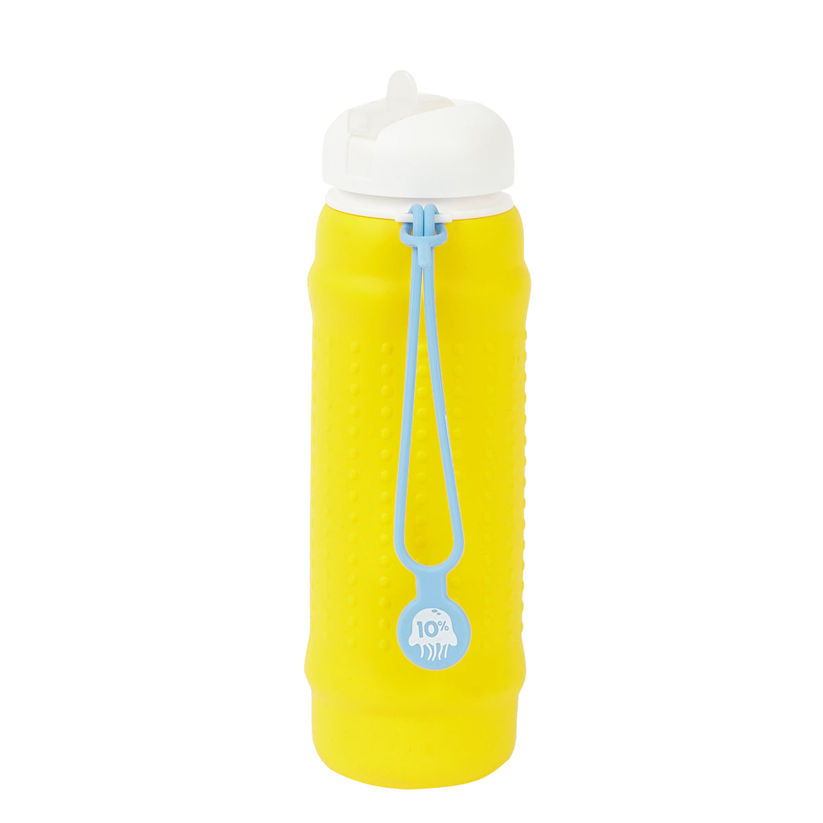 Rolla Bottle - Yellow, White Lid + Dusty Blue Strap