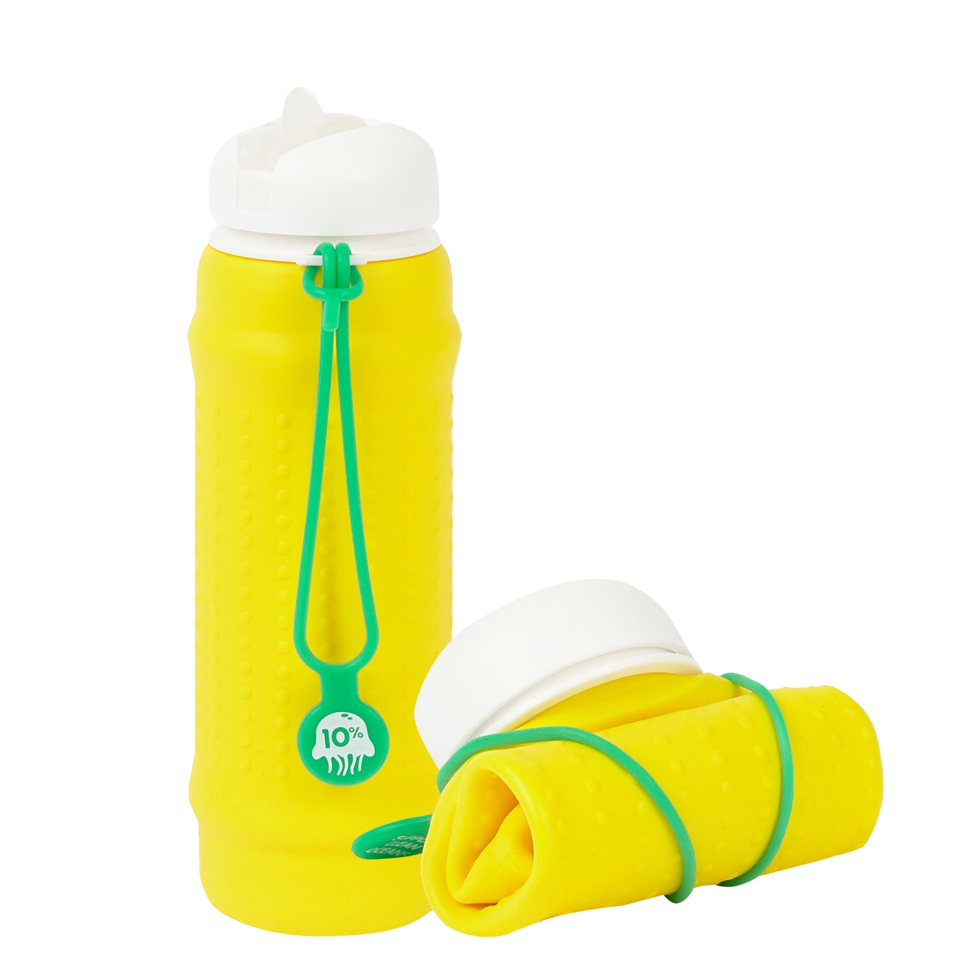 olla Bottle - Yellow, White Lid + Green Strap - tall and rolled