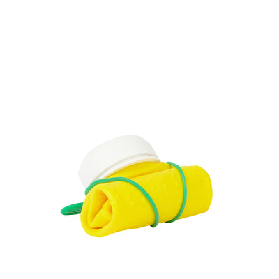olla Bottle - Yellow, White Lid + Green Strap - rolled