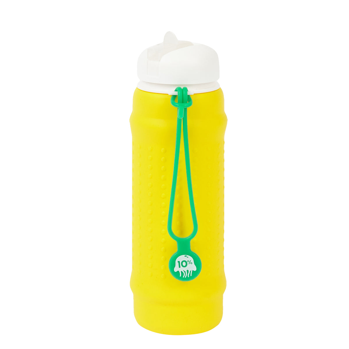 olla Bottle - Yellow, White Lid + Green Strap