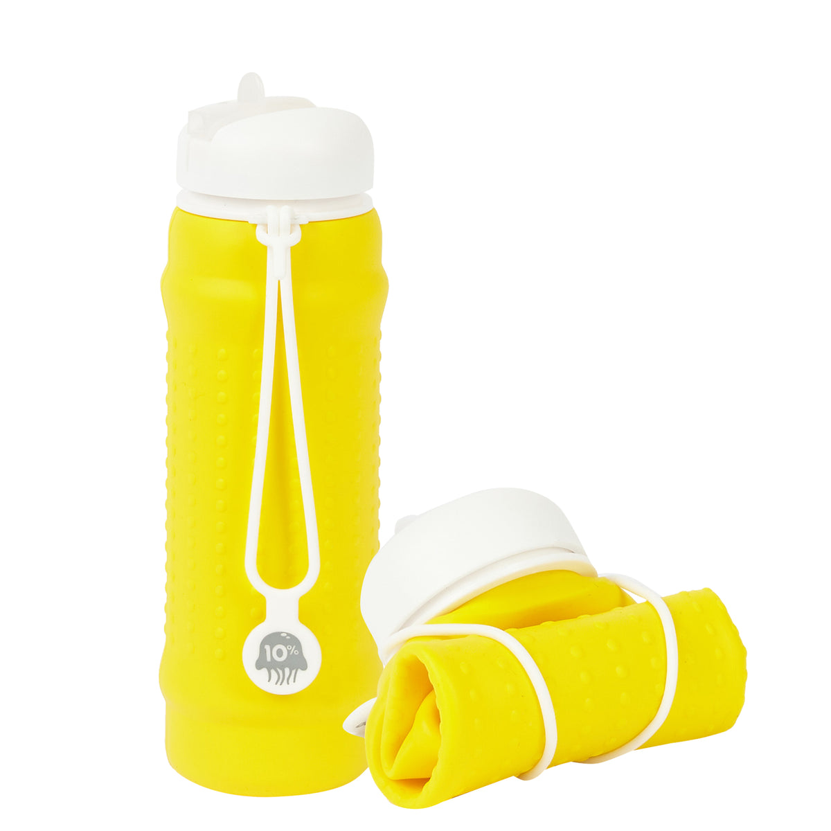 Rolla Bottle - Yellow, White Lid + White Strap - tall and rolled
