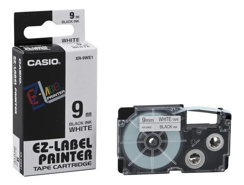 Cinta para Etiquetadora Casio Label LT XR-9WE1 Negro sobre Blanco 9mm