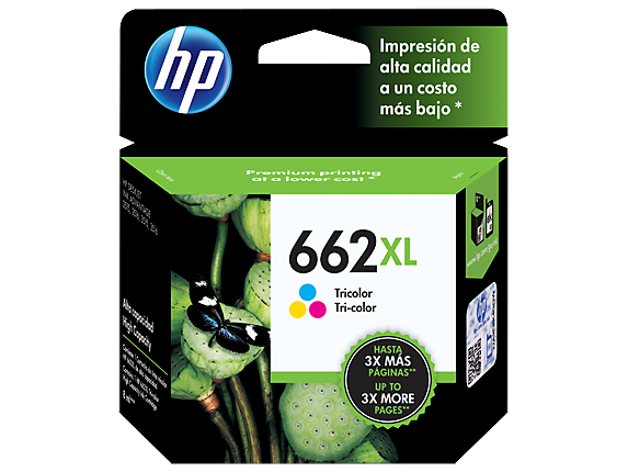 Cartucho de Tinta Original HP 662XL - CZ106AL Color Alto Rendimiento Impresora Deskjet Ink Advantage 1015, 1515, 2515, 3515, 3545 4645, 2645