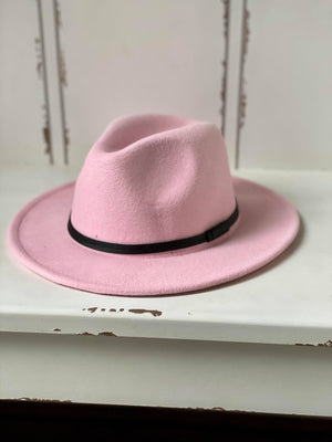 Wool Double Leather Ribbon Fedora