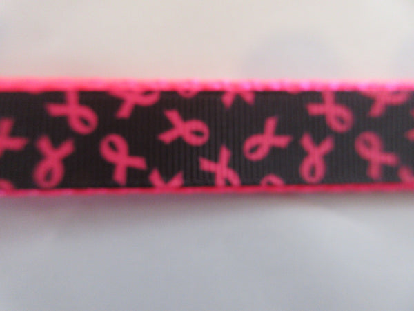 "3/4"" Black and Pink Breast Cancer Awareness Dog Collar - Penny and Hoover's Pig Pen"