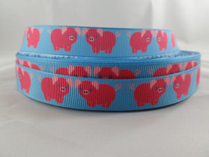 "3/4"" Blue Pigs Dog Collar - Penny and Hoover's Pig Pen"