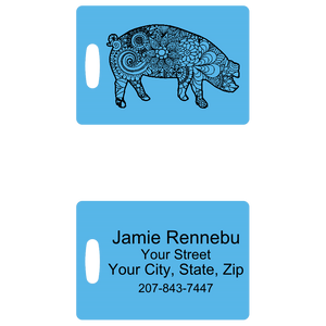 Blue Zentangle Pig Luggage Tag - Penny and Hoover's Pig Pen