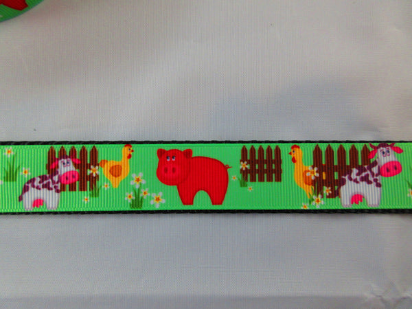 "1"" Farm Animals Dog Collar - Penny and Hoover's Pig Pen"