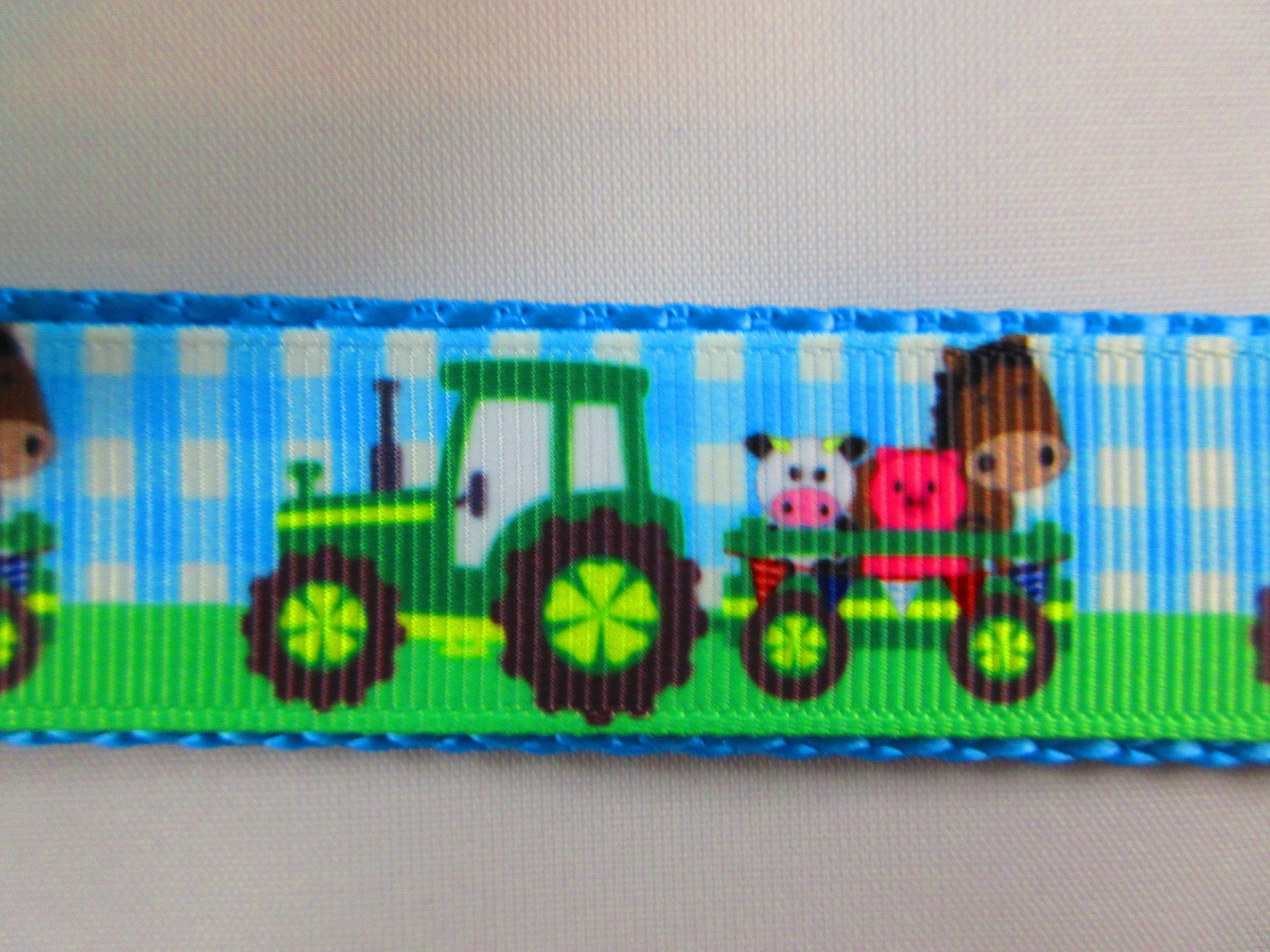 "1"" Green Farm Tractors Dog Collar - Penny and Hoover's Pig Pen"