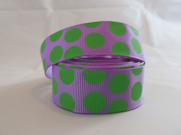 "1"" Green and Purple Polka Dots Dog Collar - Penny and Hoover's Pig Pen"