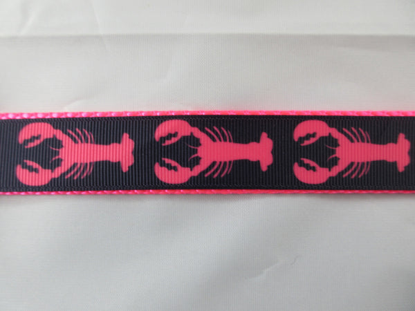 "1"" Hot Pink Lobsters Dog Collar - Penny and Hoover's Pig Pen"