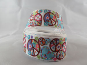 "1"" Peace and Love Dog Collar - Penny and Hoover's Pig Pen"