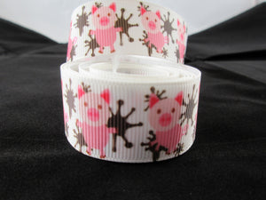 "1"" Pigs in Mud Dog Collar - Penny and Hoover's Pig Pen"