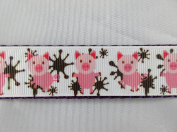 "3/4"" Pigs in Mud Dog Collar - Penny and Hoover's Pig Pen"