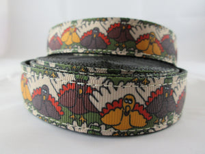 "1"" Pilgrim Turkey Nylon Dog Collar - Penny and Hoover's Pig Pen"
