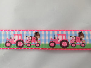 "1"" Pink Farm Tractors Dog Collar - Penny and Hoover's Pig Pen"