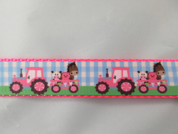"1"" Pink Farm Tractors Pig Harness - Penny and Hoover's Pig Pen"