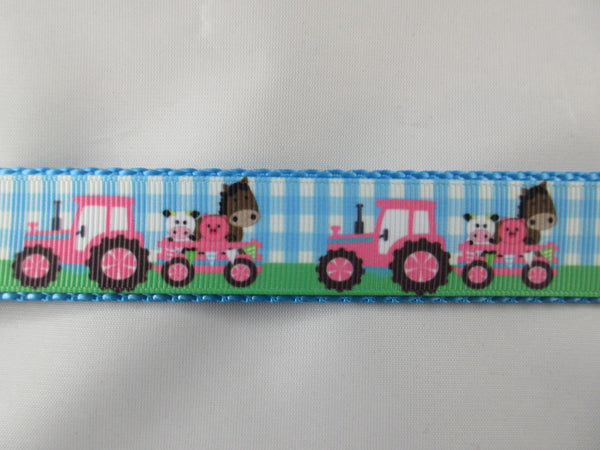 "1"" Pink Farm Tractors Leash - Penny and Hoover's Pig Pen"