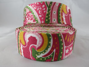 "1"" Pink Paisley Poly Dog Collar - Penny and Hoover's Pig Pen"