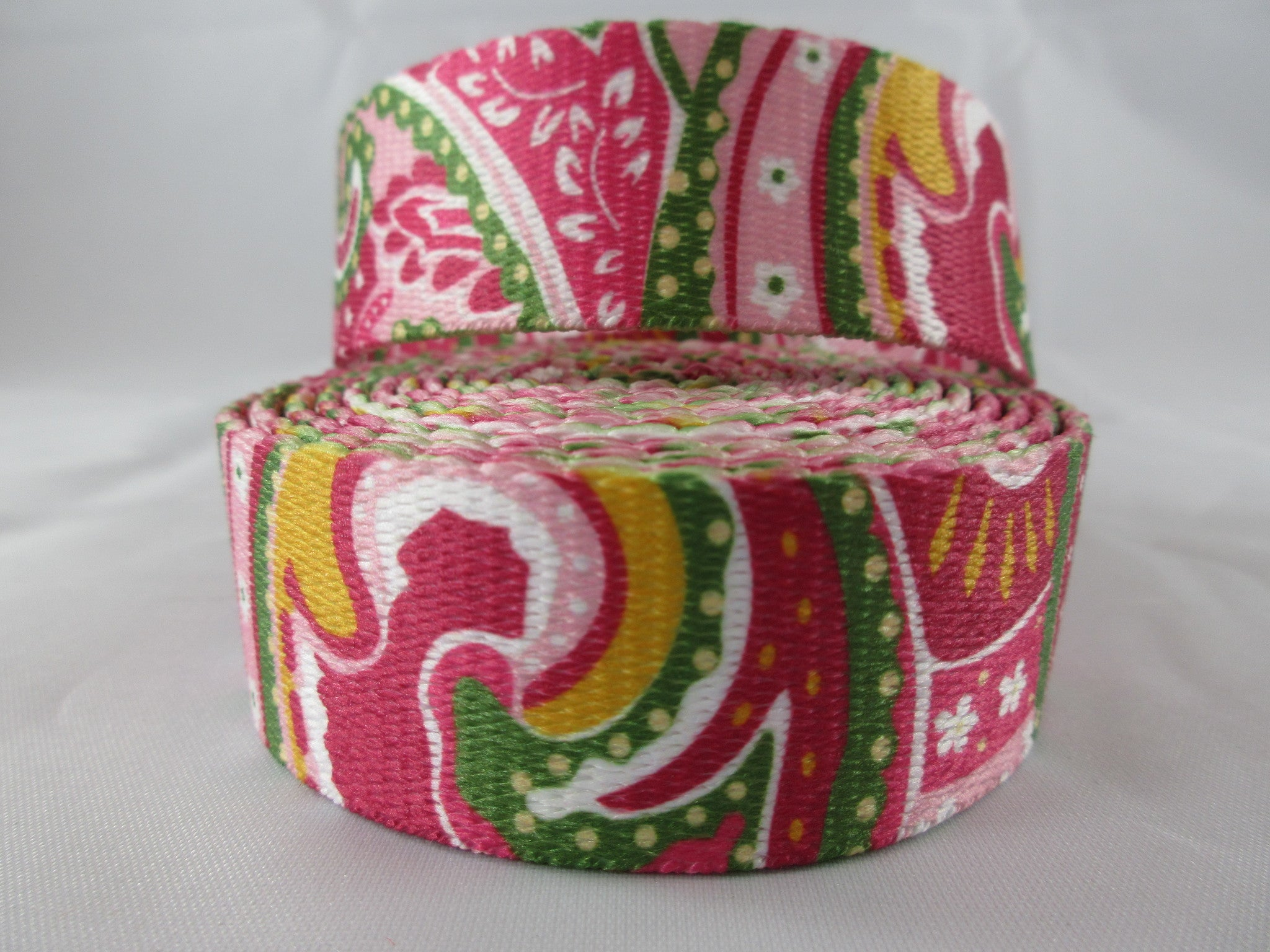 "1"" Pink Paisley Poly Leash - Penny and Hoover's Pig Pen"