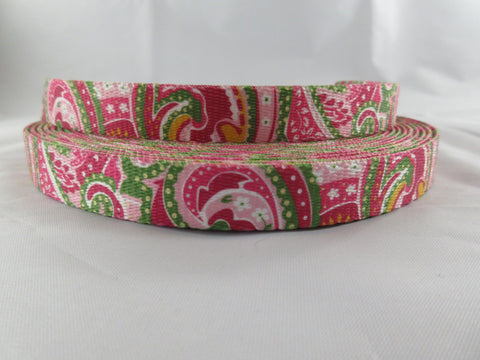 "5/8"" Pink Paisley Leash - Penny and Hoover's Pig Pen"