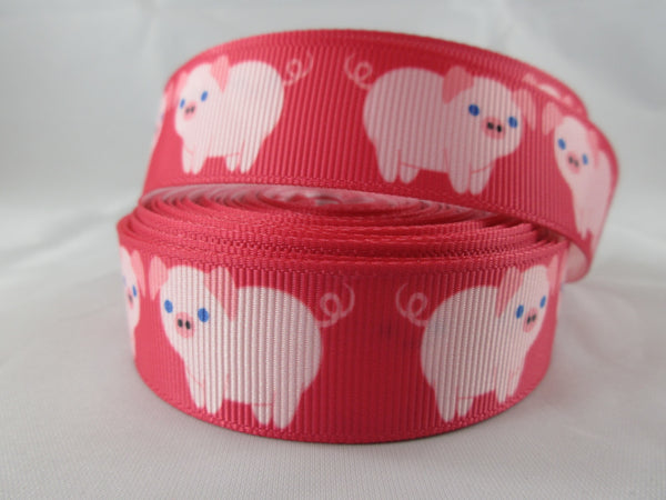 "1"" Pink Pigs Dog Collar - Penny and Hoover's Pig Pen"