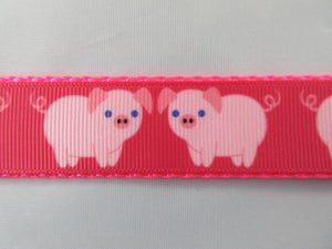 "3/4"" Pink Pigs Dog Collar - Penny and Hoover's Pig Pen"