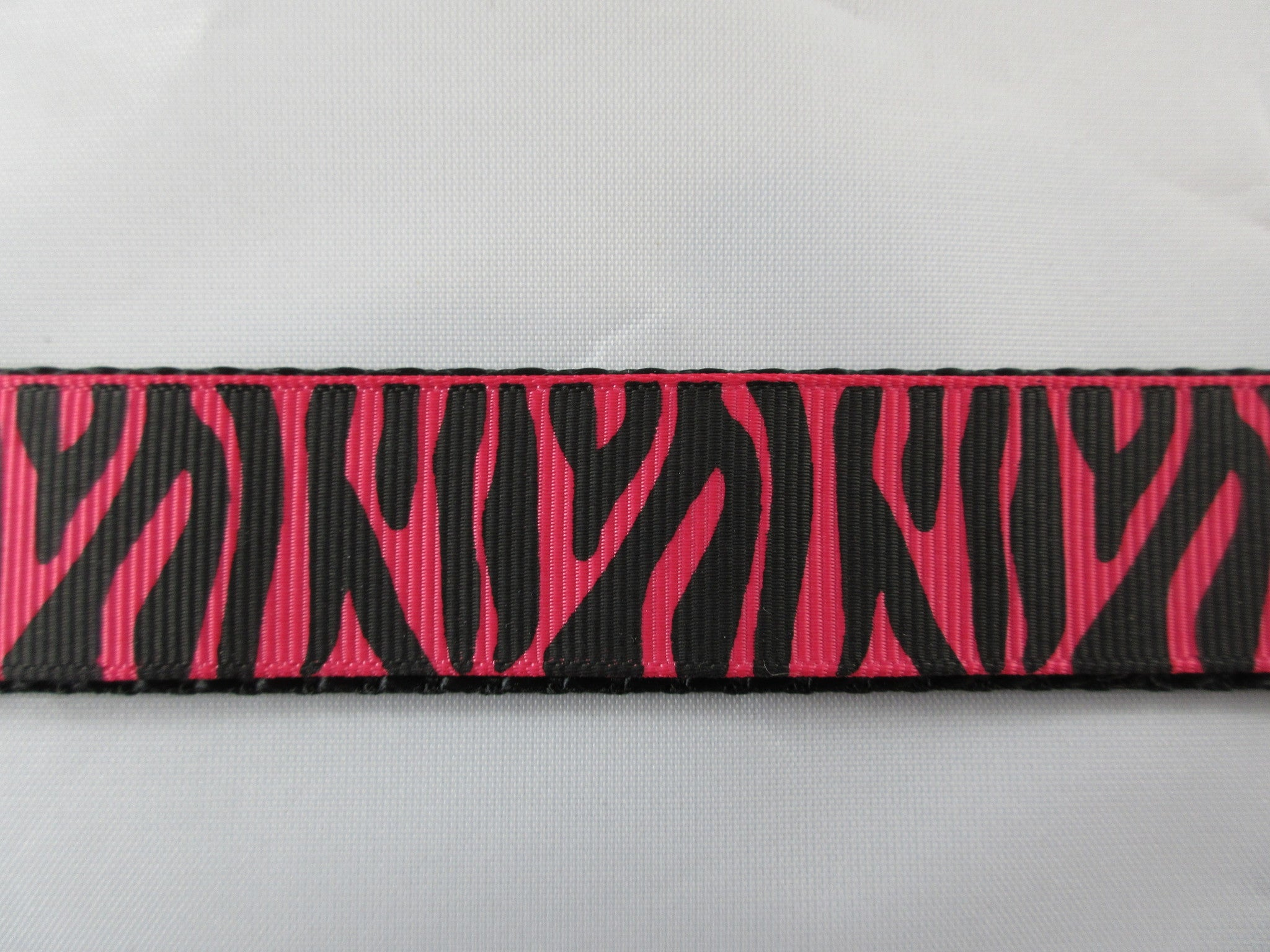 "1"" Pink Zebra Stripes Dog Collar - Penny and Hoover's Pig Pen"