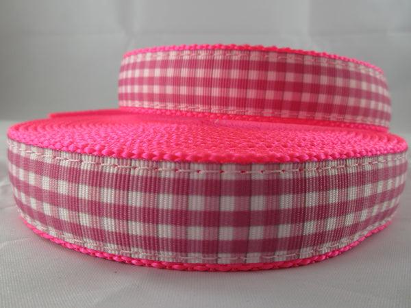 "1"" Pink and White Gingham Nylon Pig Harness - Penny and Hoover's Pig Pen"