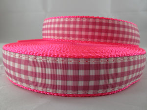 "1"" Pink and White Gingham Nylon Dog Collar - Penny and Hoover's Pig Pen"