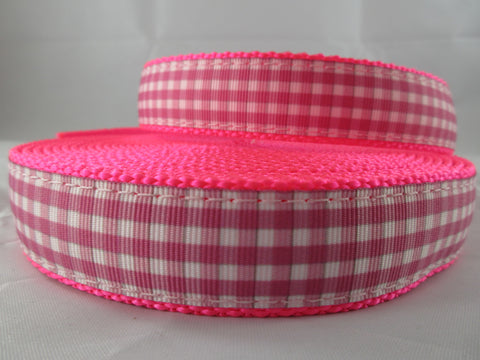 "1"" Pink and White Gingham Nylon Leash - Penny and Hoover's Pig Pen"