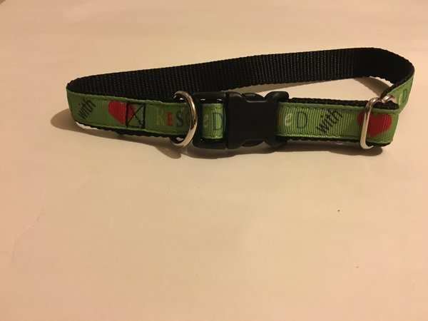 "3/4"" Rescued With Love Dog Collar - Penny and Hoover's Pig Pen"