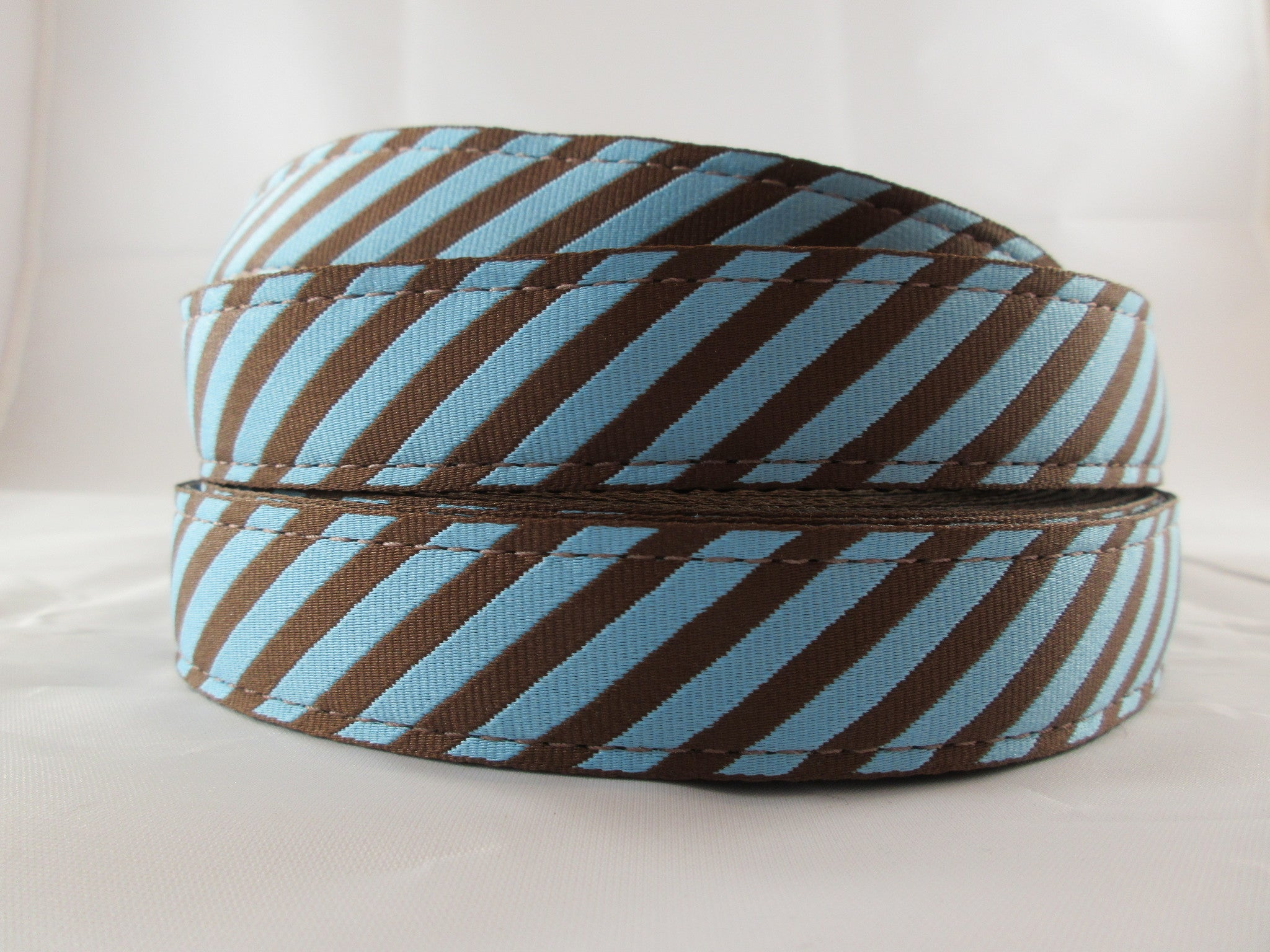"1"" Robin's Egg Stripes Dog Collar - Penny and Hoover's Pig Pen"