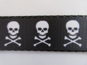"1"" Skull and Crossbones Dog Collar"