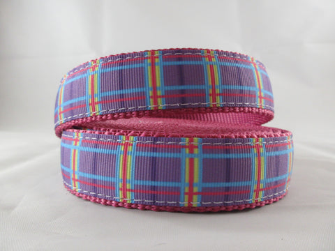"1"" Spring Purple Plaid Leash - Penny and Hoover's Pig Pen"