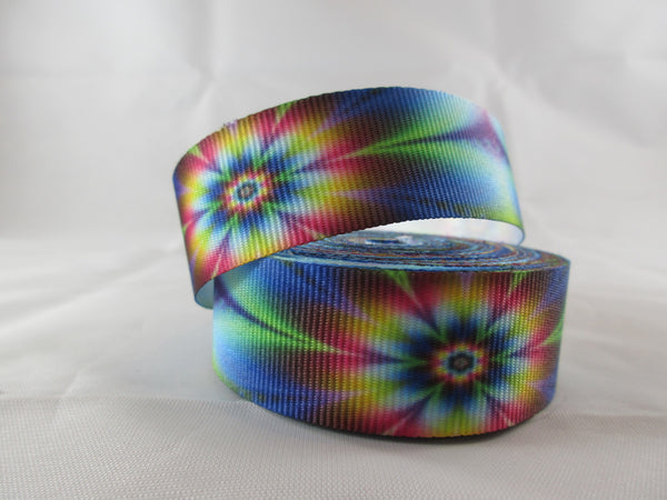 "1"" Tie Dye Flowers Dog Collar - Penny and Hoover's Pig Pen"