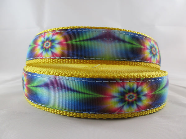 "3/4"" Tie Dye Flowers Dog Collar - Penny and Hoover's Pig Pen"