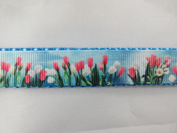 "3/4"" Tulips Dog Collar - Penny and Hoover's Pig Pen"