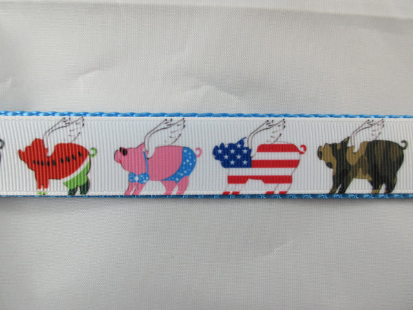 "1"" When Pigs Fly Leash - Penny and Hoover's Pig Pen"