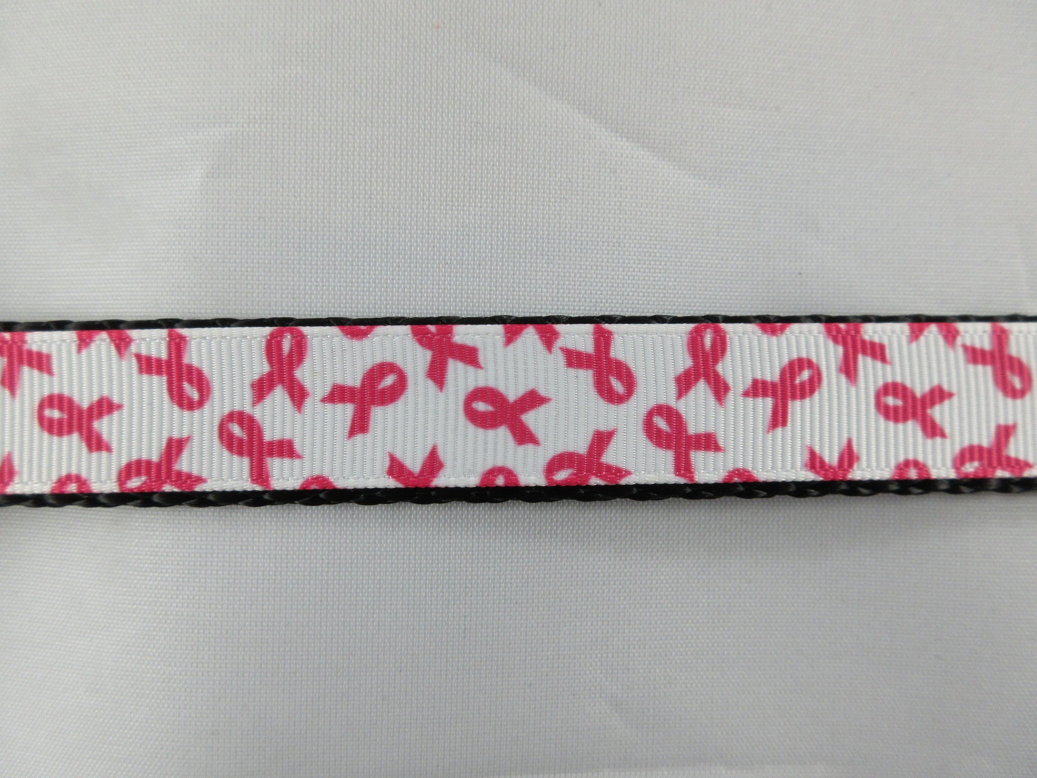 "3/4"" White and Pink Breast Cancer Awareness Leash - Penny and Hoover's Pig Pen"