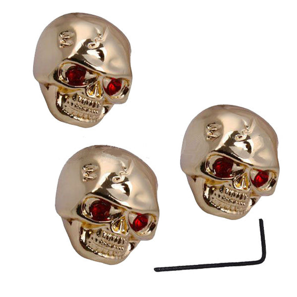 3 Gold Skull Head Tune Knobs For Electric Guitar