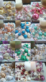 Mix Seashells, Diamonds & Pearl Vase & Bowl Fillers, Table Scatters, Coastal Decor, Wedding Beach Theme Decors