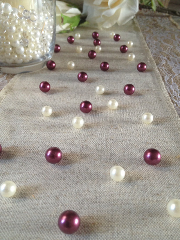 Vintage Table Pearl Scatters Burgundy and Ivory Pearls For Wedding, Parties, Special Events Decor Table Confetti